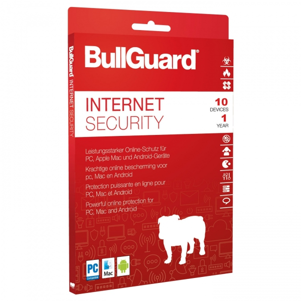 BullGuard Internet Security 2018 Multi-Device, 10 Geräte - 3 Jahre, Download, Win/Mac/Android