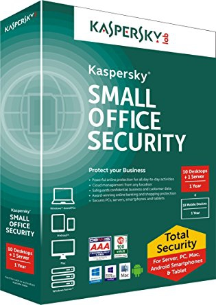 Kaspersky Small Office Security 5, 10 PC + 10 Mobile + 1 Server - 1 Jahr Win, Download