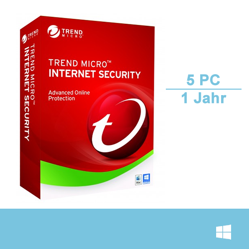 Trend Micro Internet Security 2017, 5 PC - 1 Jahr, Download