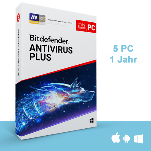 Bitdefender Antivirus Plus 2019, 5 PC - 1 Jahr, Deutsch, Download