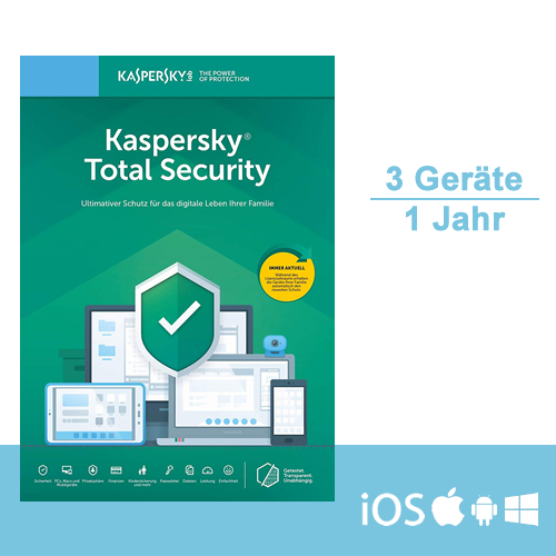 Kaspersky Total Security 2019/2020 - Multi-Device, 3 Geräte - 1 Jahr, ESD, Download