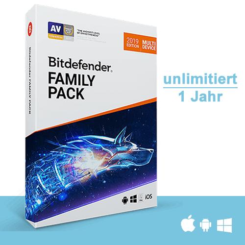 Bitdefender Family Pack 2019, beliebig viele Geräte* - 1 Jahr, Deutsch, Download