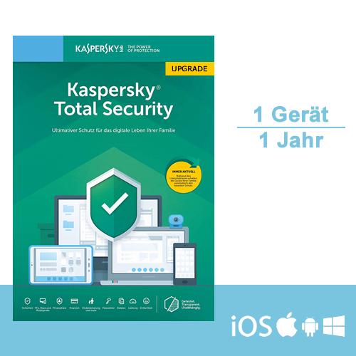 Kaspersky Total Security 2019/2020 Upgrade, 1 Gerät - 1 Jahr, ESD, Download