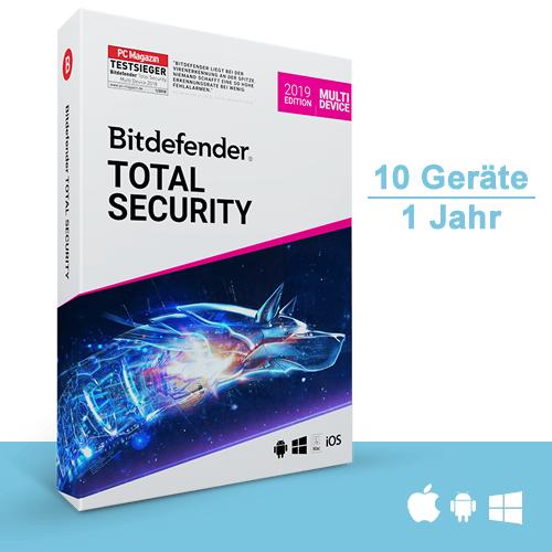 Bitdefender Total Security 2019 Multi-Device, 10 Geräte - 1 Jahr, Deutsch, Download