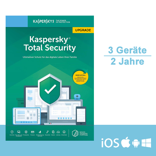 Kaspersky Total Security 2019/2020 Upgrade, 3 Geräte - 2 Jahre, ESD, Download