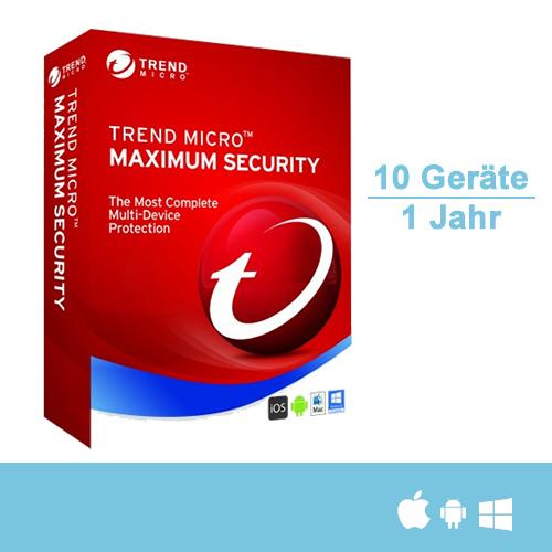 Trend Micro Maximum Security 2017, 10 Geräte - 1 Jahr, Download