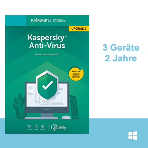 Kaspersky Anti-Virus 2019 Upgrade, 3 PC - 2 Jahre, ESD, Download