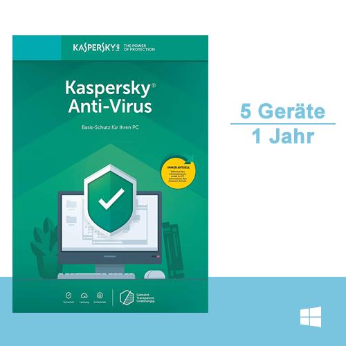 Kaspersky Anti-Virus 2019, 5 PC - 1 Jahr, ESD, Download