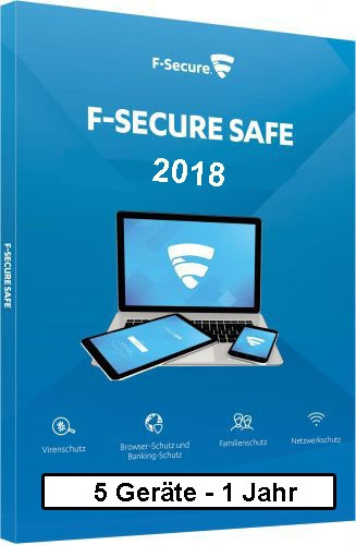 F-Secure GmbH F-Secure Safe Internet Security 2018, 5 Geräte - 1 Jahr, Download Win/Mac/Android/iOS FCFXBR1N005D8