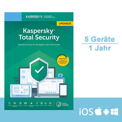 Kaspersky Total Security 2019 Upgrade, 5 Geräte - 1 Jahr, ESD, Download