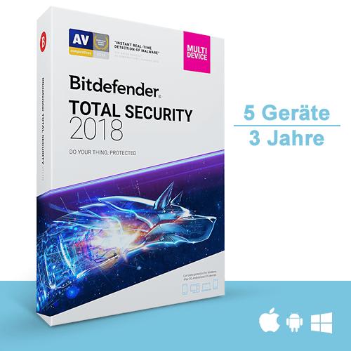 Bitdefender Total Security 2017 & 2018 Multi-Device, 5 Geräte - 3 Jahre, Download