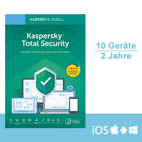 Kaspersky Total Security 2019/2020 - Multi-Device, 10 Geräte - 2 Jahre, ESD, Download