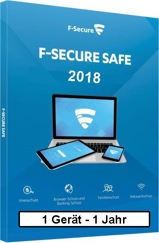 F-Secure GmbH F-Secure Safe Internet Security 2018, 1 Gerät - 1 Jahr, Download Win/Mac/Android/iOS FCFXBR1N001D8