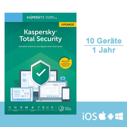 Kaspersky Total Security 2019/2020 Upgrade, 10 Geräte - 1 Jahr, ESD, Download