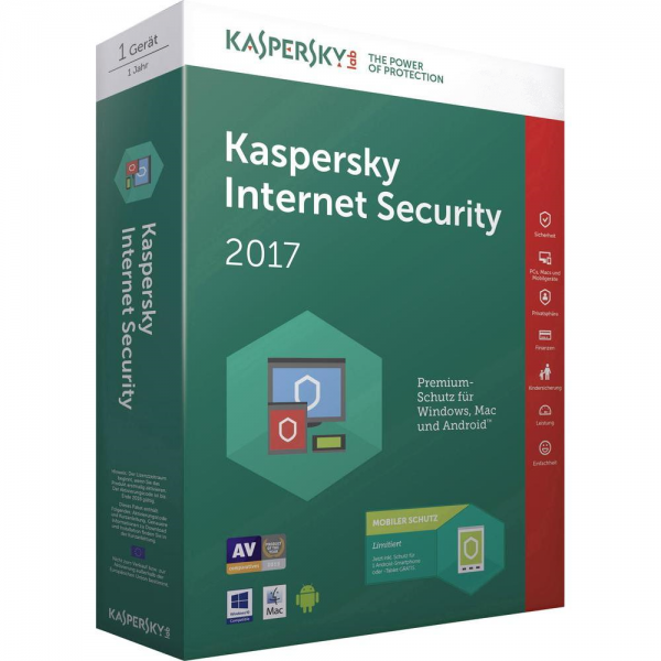 Kaspersky Internet Security 2017 Multi-Device, 2 Geräte - 1 Jahr, Download, Upgrade