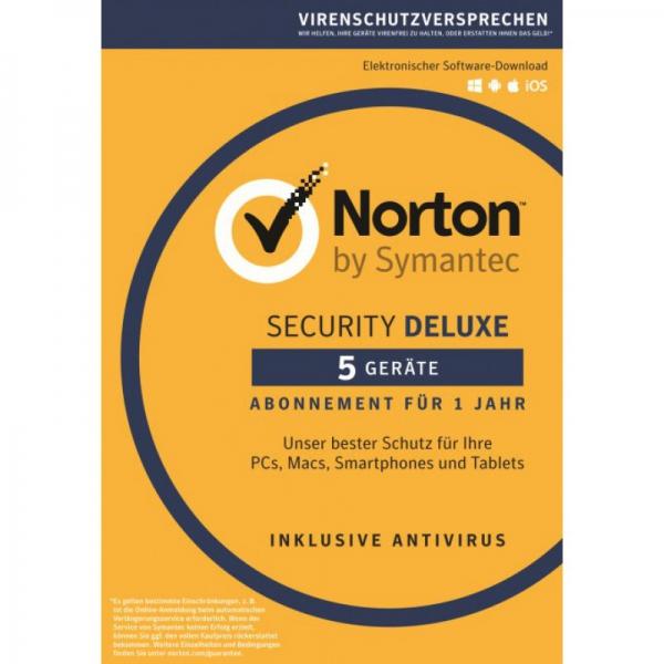 Symantec Norton Security Deluxe 3.0, 5 Geräte - 1 Jahr, Download Win/Mac/Android